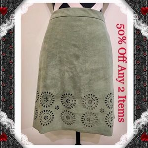 Vince Camuto  Laser Cut Suede Skirt